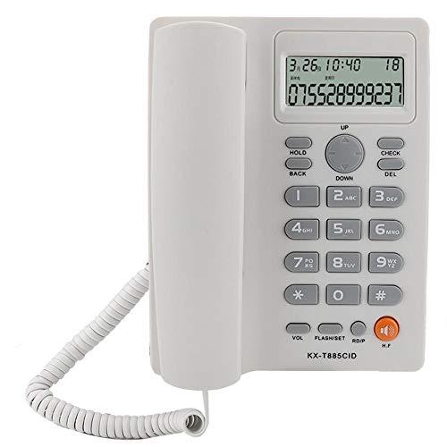 KX-885CID Teléfono de Oficina en casa, teléfono Fijo con Manos Libres para Llamadas con Sonido Claro, marcación de Velocidad, identificador de Llamadas, función de Pausa/retención(Blanco)
