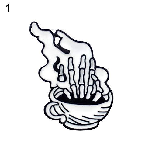 Bangle009 Unisex-Brosche in Form eines Buches / Kaffeetasse, Denim-Schmuck, 1 #