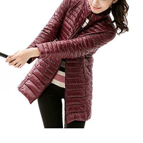 Abrigo de Invierno para Mujer Parkas Ocasionales para Nieve Femenina Mantener abrigado Color sólido Abrigo de Manga Larga Ligero Chaqueta Larga y Delgada