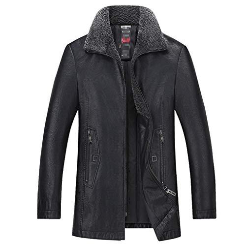 NHX Herren-Leder-Mäntel und Jacken beiläufige Herbst und Winter Mantel aus gewaschenem Leder Motorradjacke halbe Länge Klassische Warm Lederjacke,Black-XL