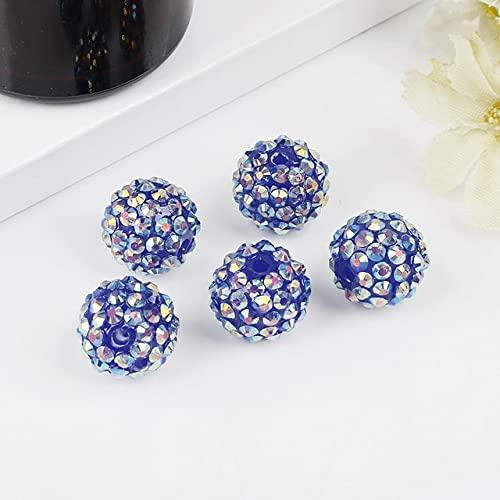 Bola de Cuentas de Diamantes de imitación de Resina Gruesa Redonda Hecha a Mano de 12mm 10 Piezas de Color Caramelo para niños niñas fabricación de Joyas