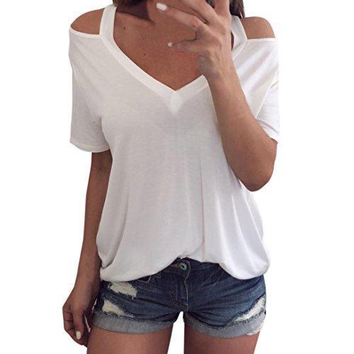 OYSOHE Tops Damen Weiß, Neueste Sommer Frauen Damen Schulterfrei V-Ausschnitt T-Shirt Kurzarm Tops Bluse(Weiß,M)