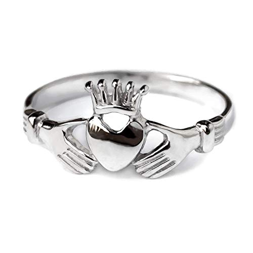Claddagh Band Ring Sterling Silver 925 Celtic Heart Crown Promise Engagement Wedding Rings for Women Irish Friendship Love Jewelry for Girls Handmade