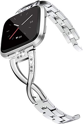 Wearlizer für Fitbit Versa Armband/Fitbit Versa 2 Armband, Metall Ersatzarmband Armbänder Sport Band für Fitbit Versa Special Edition - Silber