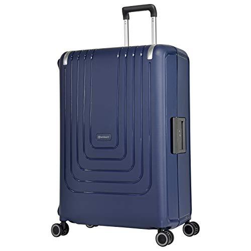 Eminent Koffer Vertica 76 cm 118 L Spinner L Hartgepäck Starke Hartschale mit Rahmen 4 leise Doppelrollen Blau