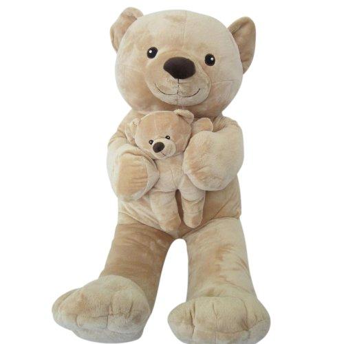 Sweety Toys 6014 XXL Teddy Teddybär sandfarben Mama 90 cm mit Baby 28 cm Riesenteddy 2in1 supersüss softweich