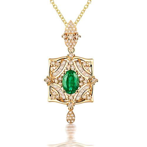 Beydodo Halskette 750 Gold Echt, Blume 0.6ct Oval Smaragd Anhänger Charms Damen Kette Gold mit Diamant 45CM