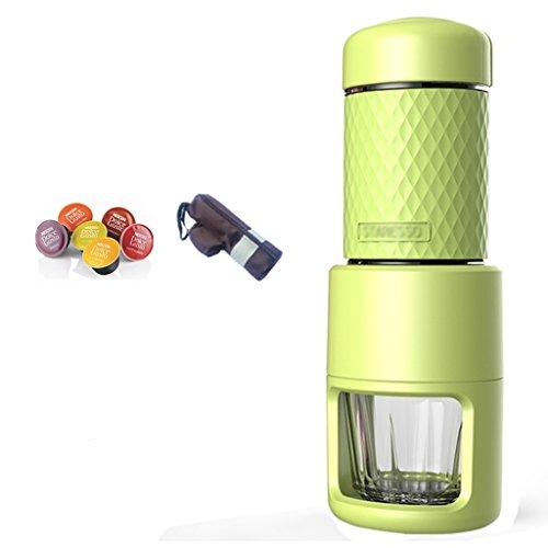 Tong Heng Sheng Firm Italienische Mini Manuelle Kapsel Kaffeemaschine Home Tragbare Gesetz Druck Wasserkocher Tasse Milchschaum (Farbe : Grün, größe : 01)