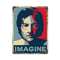 IMAGINE Nuruddin Araniri-ジョン・レノンさびた錫のサインヴィンテージアルミニウムプラークアートポスター装飾面白い鉄の絵の個性安全標識警告アニメゲームフィルムバースクールカフェ40cm*30