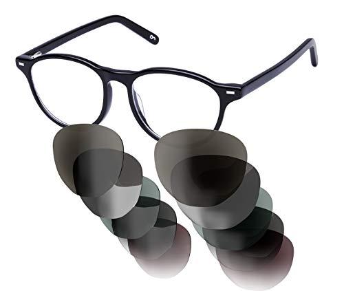 Sym Runde Sonnenbrille mit Sehstärke von -4,00 bis +4,00 mit auswechselbaren Gläsern in 6 Farben für Kurzsichtigkeit und Weitsichtigkeit - Damen - City Kollektion Modell London schwarz