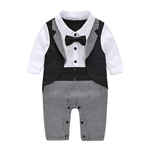 JERFER Softshell Overall Infant Kleinkind Jungen Gentleman Bowtie Swallowtail Romper Jumpsuit Outfits