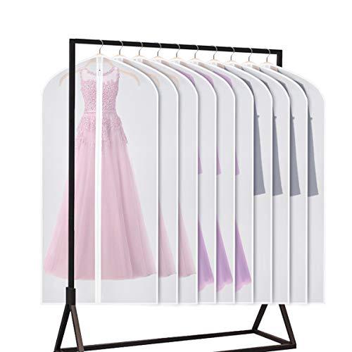 Univivi Garment Bag 60 inch Suit Bag for Storage(Set of 10),Washable Clear Lightweight Garment Bags for Long Dress Dance Costumes Suits Gowns Coats