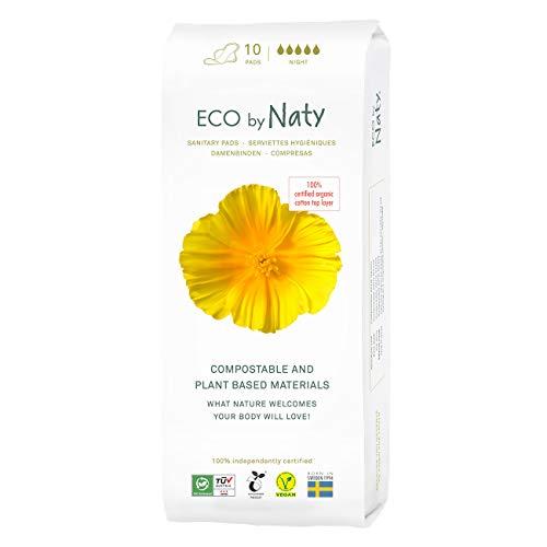Eco by Naty, Serviettes Hygiéniques, Nuit, Fabriquées à Partir de Fibres Végétales, 0% Plastique, 10 Unités, 10 Unités
