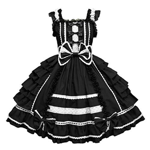 Lazzboy Kleider Frauen Vintage Gothic Bogen Spitze Volant Langarm Patchwork Kleid Damen Cosplay Kostuem Lolita Gotische Abendkleider Partykleid(Schwarz,M)
