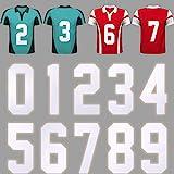 10 Piezas Números de Transferencia de Calor de Plancha de 8 Pulgadas de Alto Números 0 a 9 para Jersey Camiseta Deportiva Camiseta de Equipo de Béisbol Fútbol (Blanco Plateado Reflectante)