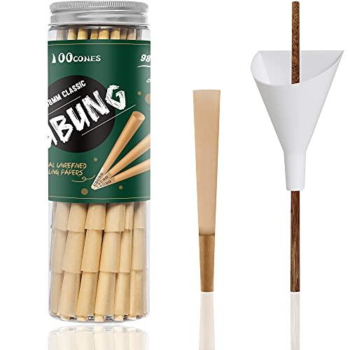 UBUNG - 100 stück - 98 Größe Konisch Papiere Hülsen mit Tips - Länge 3,85 Zoll / 98 mm - Enthält 1 Einfülltrichter und 1 Verpackungsstab und 2 Joint hüllen