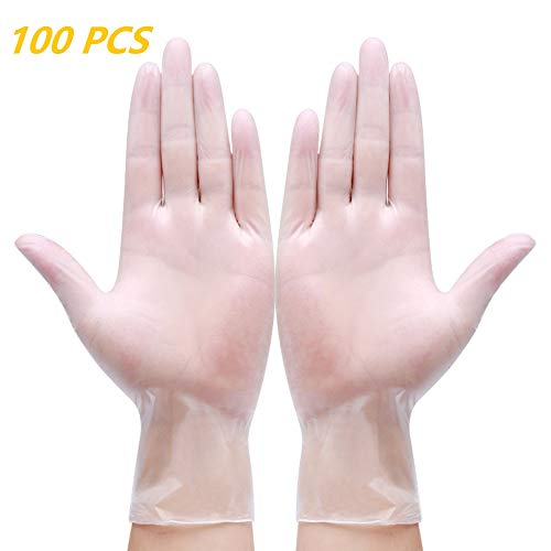 Sopplea Disposable Vinyl Gloves, Non-Sterile, Powder Free, Smooth Touch, Food Service Grade, Medium Size [100 Pack]