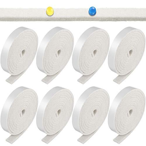 1/2 x 60 Inch Self-Stick Felt Strips Self Adhesive Felt Tapes Felt Bulletin Board Bar Strips, Pin Board Polyester Felt Strip Rolls for Protecting Furniture and DIY Adhesive (Beige, 8 Rolls)