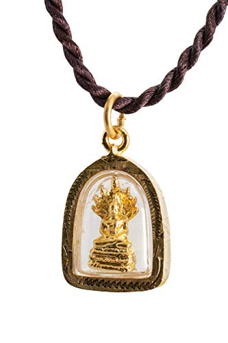 Buddha Golden Thai Amulet Pendant Weekday Birthday (Saturday - Phra Naga Prok Protection)