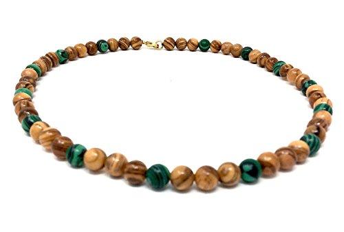 Halskette mit Perlen aus echten Olivenholz natur und grün eingefärbt handgemacht auf Mallorca Holzschmuck Schmuck aus Olivenholz hand made