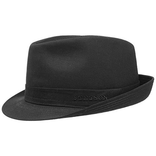 Stetson Teton Stofftrilby Damen/Herren - Trilby Made in Italy - Hut aus 100% Baumwolle - Sommerhut mit UV-Schutz 40+ - Sonnenhut Sommer/Winter schwarz 58 cm