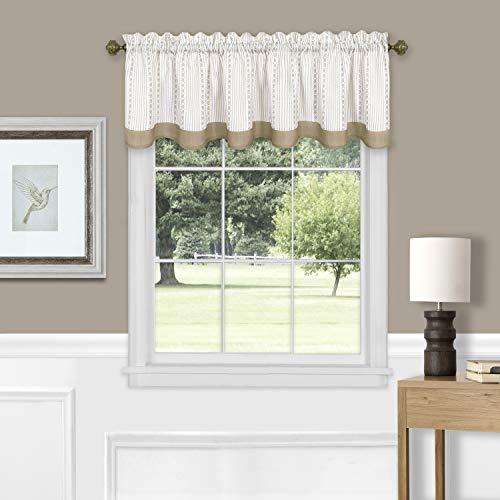 "Achim Home Furnishings, Taupe Westport Window Curtain Valance, 58""x14"""