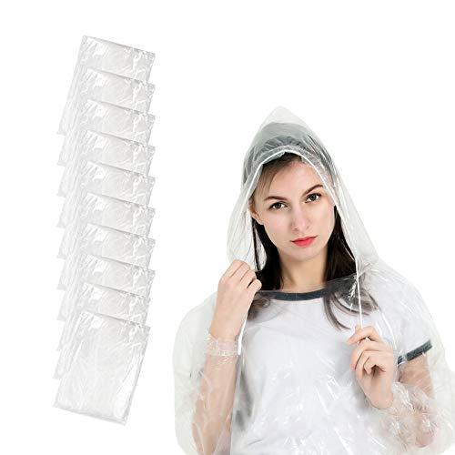 EXTSUD Einweg Regenponcho, 10 Pack Regenmantel mit Kapuze und Ärmeln, Transparent Wasserdicht Regenmantel Regenjacken für Herren Damen, Perfekt für Festival, Konzert, Fahrrad, Wandern