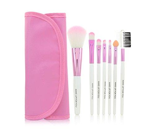Vi.yo Maquillage Brush Set 7 Pcs Professionnel Fondation Concealer Brosse Liquide Poudre Crème Cosmétique Outil de Brosse Set pour le Visage et les Yeux (avec des Sacs à Cosmétiques)