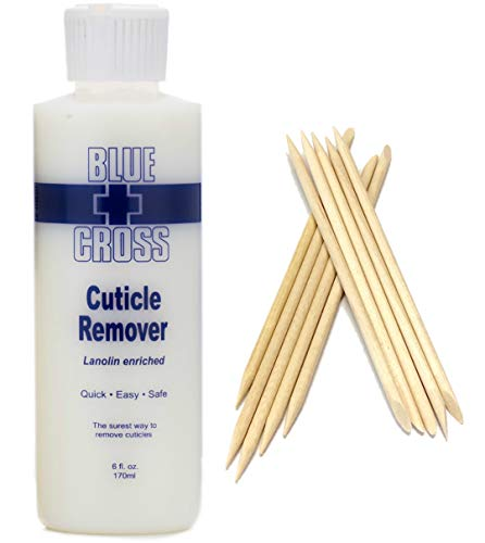 Blue Cross Cuticle Remover 6 Ounce Bundle with SMFE Wooden Cuticle Sticks