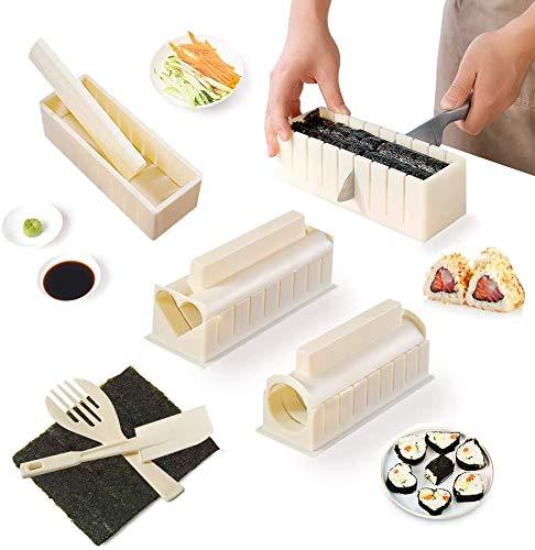 Kit de fabricación de sushi de 10 piezas, Alldo Sushi Maker Silicona de grado alimenticio, Molde de sushi de bricolaje con un juego de 6 vajillas, Kit de inicio de sushi para principiantes