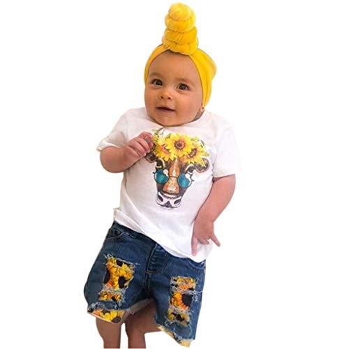 Moneycom❤Toddler Kids - Conjunto de Ropa para bebé y niña, Camiseta Estampada Girasol + Pantalones Cortos en Vaqueros de Tul Chic Ceremonia Boda Blanco Blanco 12-24 Meses