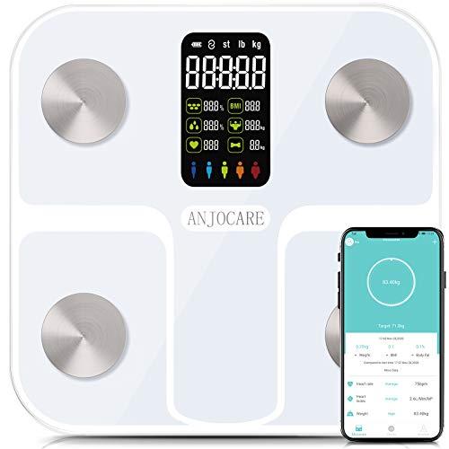ANJOCARE Báscula de grasa corporal con pantalla LED grande, básculas digitales de baño con aplicación para Smartphone, 16 mediciones actualizadas, analizadores de composición corporal