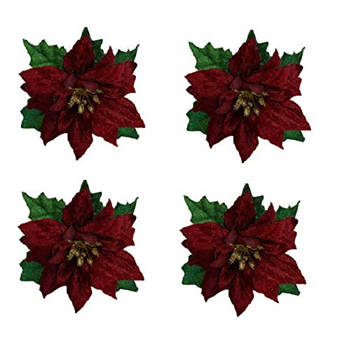 Nantucket Christmas Holiday Napkin Rings Set of 4 Napkin Rings for Holiday Party Dinner or Table Setting Decoration (Red Poinsettia)