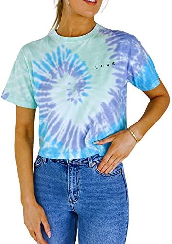 BRAVE SOUL Damen T-Shirt mit Batikfärbung, multi, Large