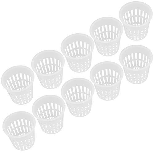 10pcs / Set paniers hydroponiques Jardin Net Tasses Pots en Plastique de Haute qualité Durable pépinière Germination Pots Seau Panier pour la Culture hydroponique Jardin Balcon(Blanc)
