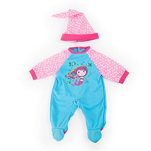 Bayer Design 84680AA Puppenkleidung für 40-46cm Puppen, Strampler, Mütze mit wunderschönen Meerjungfraumotiv, Outfit, türkis, rosa