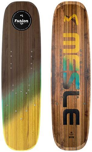 MESLE Shortboard Trickski Fusion, Länge 107 cm- 111 cm, Wasserski mit Slider Base, Continuous Rocker, Holzkern, Wood-blau-gelb, Längen:42 Zoll (107 cm)