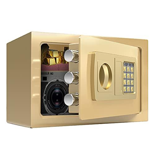 VIY Caja Fuerte de Seguridad Portátil con Cerradura Electrónica y 2 Llaves de Emergencia para Montaje en Pared o Suelo para Oficina o Uso doméstico 32x20x20 cm,Oro