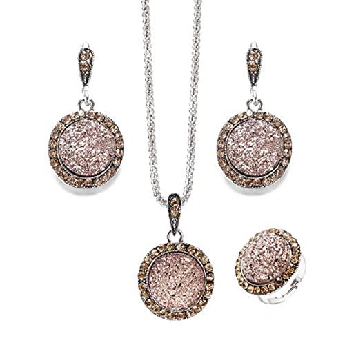 1 Juego de Collar de Diamantes de imitación de Color Plateado Vintage, Pendientes, Pulsera, Anillo, Conjunto para Mujer, Conjuntos de Joyas de Boda de Piedra Rota Negra