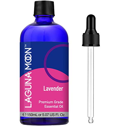 100% Pure Lavender Essential Oil Large 5 oz  Premium Grade Lavender Oil for Aromatherapy Relaxation Skin Care and Hair Growth Huge Bottle with Dropper by Lagunamoon 150ml