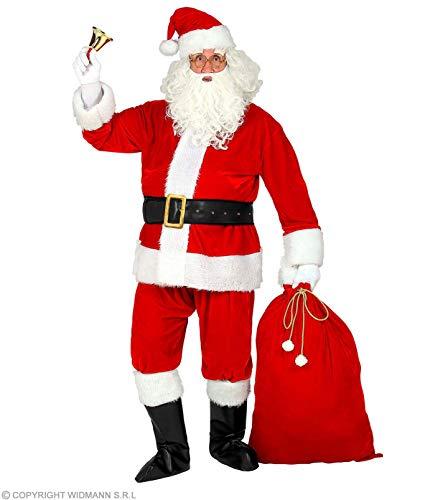 WIDMANN 10667-Kostm Weihnachtsmann 10667  Disfraz, chaqueta, pantalones, cinturn, gorro, barba, gafas, cubrebotas, saco de Pap Noel, Santa Claus, San Martin, Navidad, Adviento, color rojo