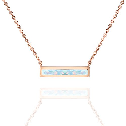 PAVOI 14K Rose Gold Plated Thin Bar White Opal Necklace 16-18'