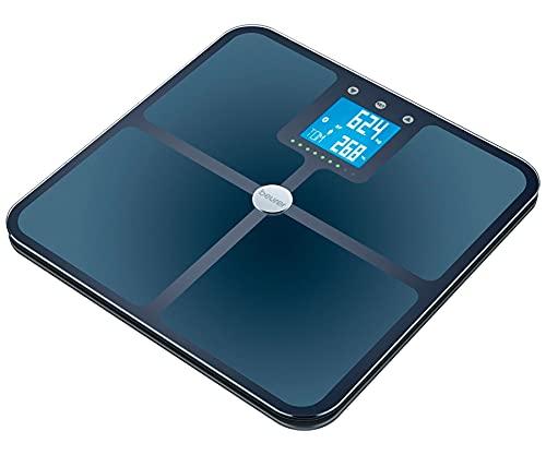 Beurer BF 950 Báscula diagnóstica negra, medición de grasa y agua corporal, corporal, de porcentaje muscular y de masa ósea, cálculo de las calorías necesarias y del IMC, conexión a la app