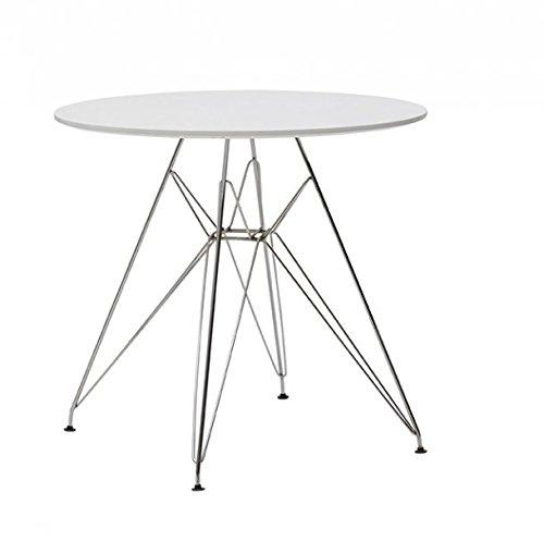 Table Ronde Design Moderne Plan en MDF et Pieds en Acier