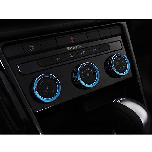[3 Stücke] LFOTPP T-ROC Aluminium-Legierung Klimaanlage Knopf-Abdeckung Auto Innendekoration Schalter Ring Taste Trim Blau
