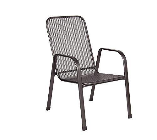 Acamp Astor Gartenstuhl   Stapelsessel, Größe 57x75x92 cm   wetterfestes und stabiles Gestell aus Stahlrohr   Optimierter Rostschutz Dank nanotech-Beschichtung   Anthrazit   Robustes Streckmetall