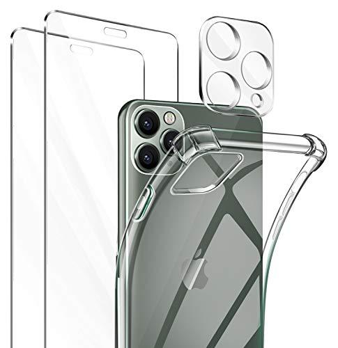 ivencase Funda Compatible con iPhone 11 Pro Clear Transparente, 2 Pack Cristal Templado y cámara Protector de Pantalla,Transparente TPU Carcasa Protector Airbag Anti-Choque Anti-arañazos Carcasa