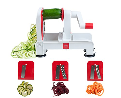 Paderno World Cuisine 3-Blade Folding Vegetable Slicer / Spiralizer Pro, Counter-Mounted and includes 3 Different Stainless Steel Blades
