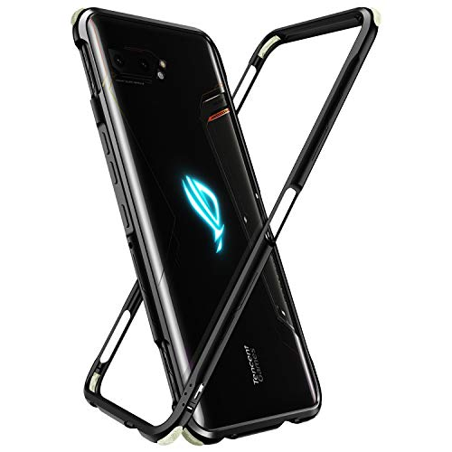 MME ASUS ROG 2 Phone Case Bumper Metal Luminous Rubber Corner Shockproof Full Body Protection with Tempered Glass Screen Protector and Anti-Scratch Carbon Fiber Skin Back (Black)
