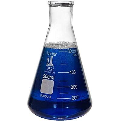 500ml Narrow Mouth Erlenmeyer Flask, 3.3 Borosilicate Glass, Karter Scientific 213G29 (Single)